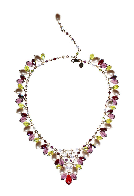 Red,Green and Purple V Necklace • Vintage Swarovski Crystal • Bohemian Chic Collection