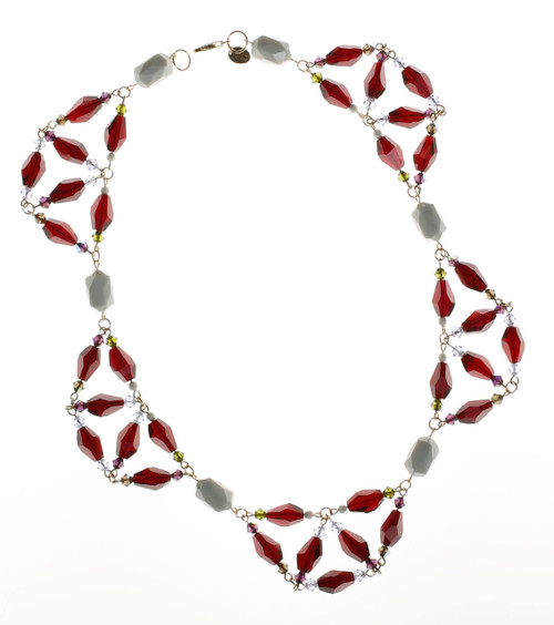 Scalloped Red Crystal Necklace • Vintage Swarovski Crystal • Bohemian Chic Collection