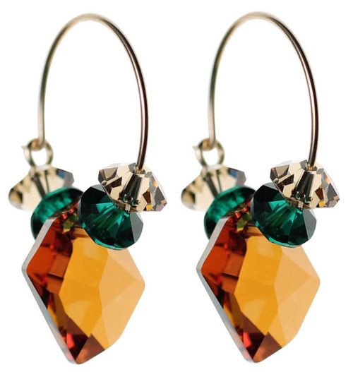 Orange topaz crystal hoop earrings