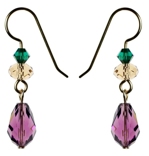 Purple crystal gold filled earrings made exclusively with Swarovski