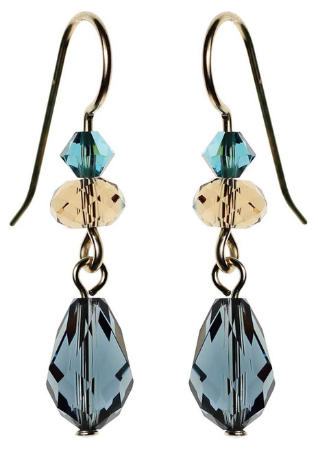 Montana blue Swarovski crystal and 14K gold filled earrings