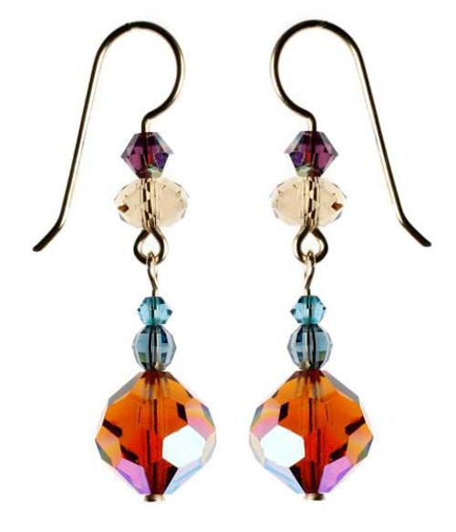 Vintage orange Swarovski crystal dangle earrings.