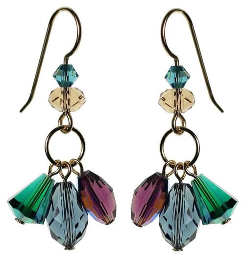 Green, Purple and Blue dangling Swarovski crystal earrings