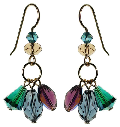 Green, Purple and Blue dangling Swarovski crystal earrings