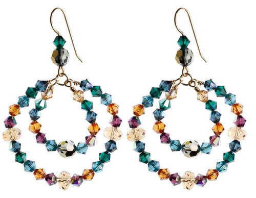 Double hoop crystal earrings with 14K gold filled