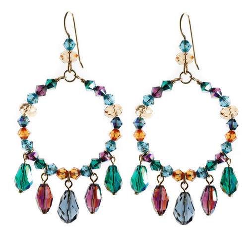 Crystal hoop earrings with purple, green and blue crystal drops.