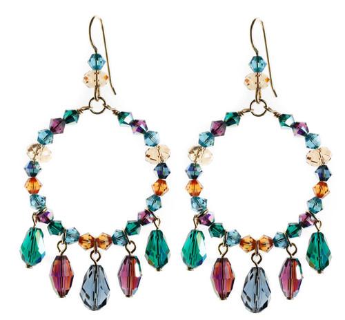 Crystal hoop earrings with purple, green and blue crystal drops.