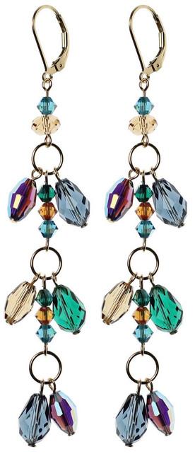 Double drop crystal shoulder duster earrings