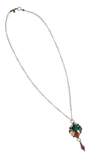 14k Gold Filled Swarovski Crystal Caged Pendant Necklace with Vintage Swarovski • Treasure Chest