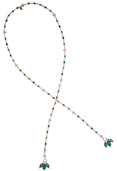 14k Gold Filled Swarovski Crystal Lariat Tie Necklace • Treasure Chest