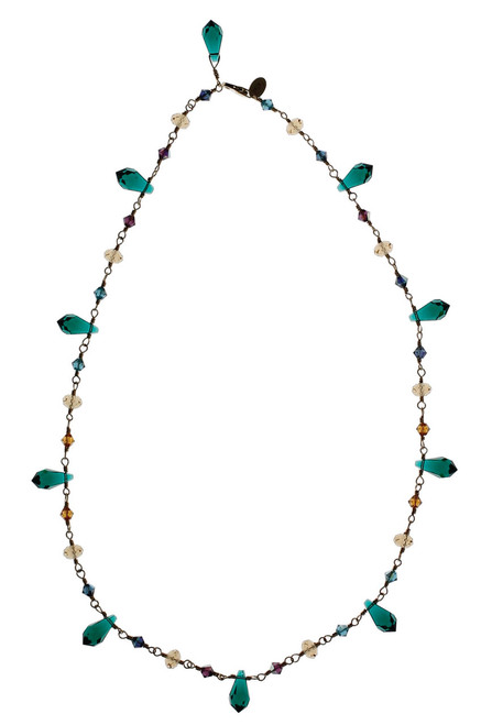 Spiked Emerald  14K Gold Filled Swarovski Crystal Necklace with Rare and Vintage Swarovski • Treasure Chest