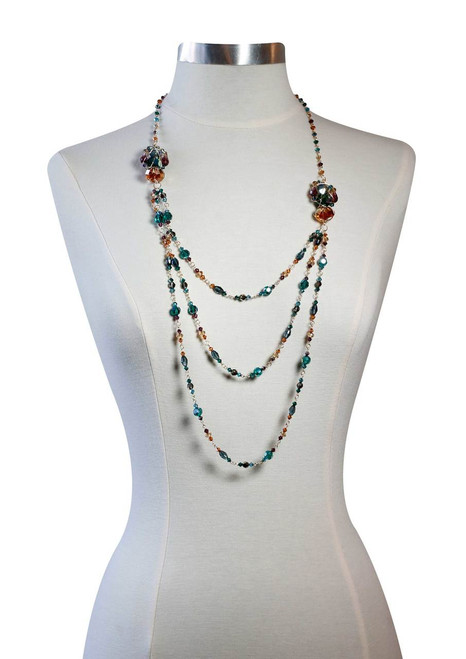 One of a Kind 14K Gold Filled Long Layered Necklace with Caged Rare & Vintage Swarovski Crystals • Treasure Chest Collection