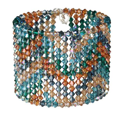 Jewel tone crystal cuff bracelet with chevron design