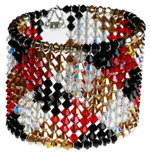 """2"""" wide crystal cuff bracelet with patchwork pattern"""