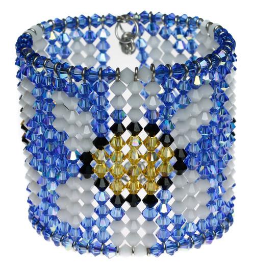 Flower power wide Swarovski cuff bracelet