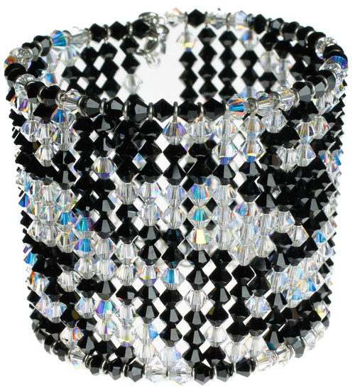 Zebra print crystal cuff bracelet.