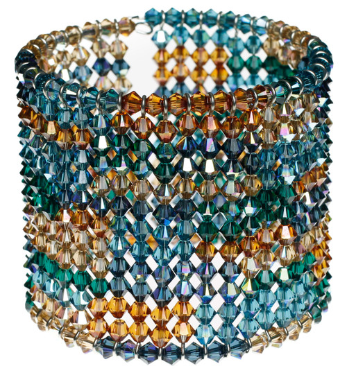 Swarovski crystal cuff bracelet with patchwork pattern