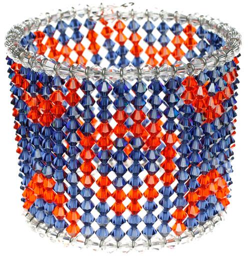 Patterned cuff bracelet made with Swarovski crystal