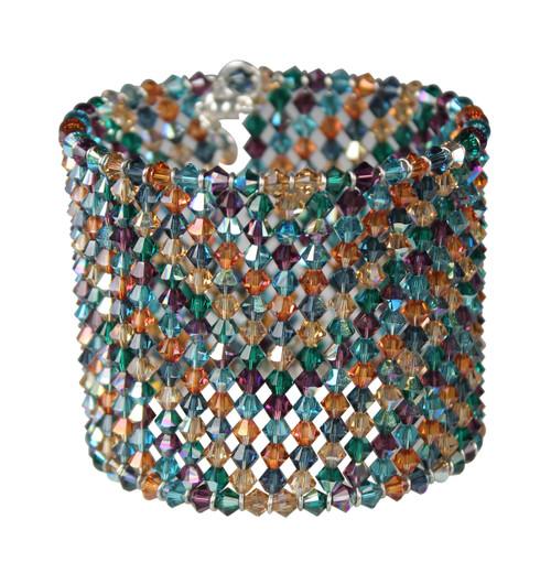 Colorful zig zag crystal cuff bracelet
