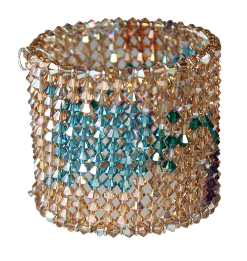 Crystal cuff bracelet with flower pattern