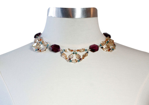 14K Gold Filled Swarovski Crystal Scalloped Collar Necklace • Treasure Chest Collection