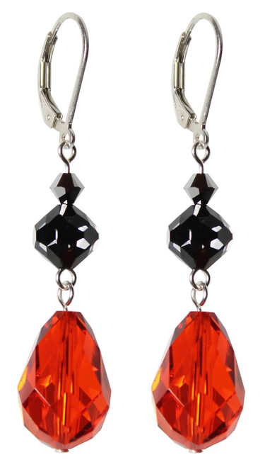 Sterling Silver Swarovski Crystal Limited Edition Black, Orange & Silver Halloween Earrings with Beautiful 15mm Vintage Hyacinth Pear Shape Drop