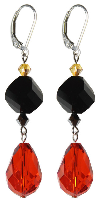 Sterling Silver Swarovski Crystal Limited Edition Statement Halloween Earrings with Elegant 15mm Vintage Hyacinth Pear Shape Drop