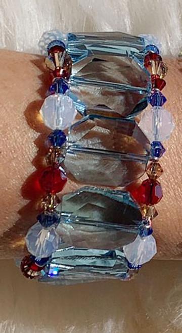 Sterling Silver Aqua & Red Swarovski Crystal Cuff Bracelet - Sailing