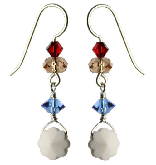 Limited Edition Sterling Silver Earrings with Antique Ivory Swarovski Crystal Flowers • Sailing