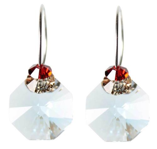 Sterling Silver Swarovski Crystal Aqua Blue & Red Hoop Earrings • Sailing Collection