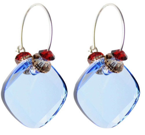 Sterling Silver Swarovski Crystal Sapphire Blue Hoop Earrings • Sailing Collection