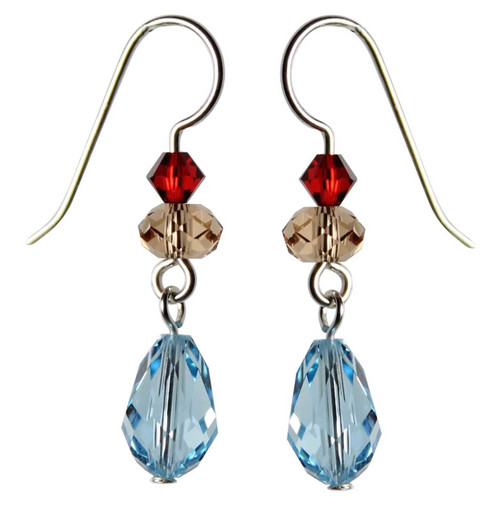 Sterling Silver Swarovski Crystal Aqua Blue Droplet Earrings • Sailing Collection
