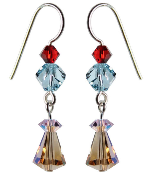 Sterling Silver Swarovski Crystal Vintage Cone Shaped Champaign Drop Earrings • Sailing Collection
