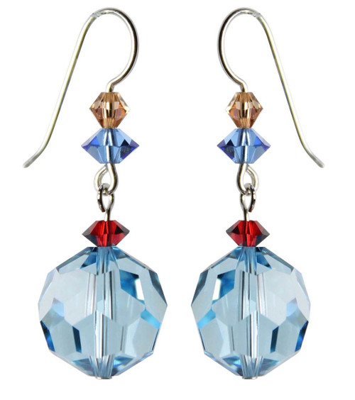 Sterling Silver Swarovski Crystal Vintage Aqua Blue Dangle Earrings • Sailing Collection