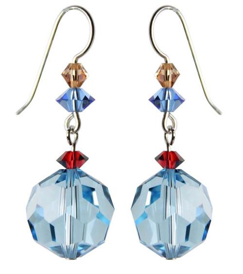 Sterling Silver Swarovski Crystal Vintage Aqua Blue Dangle Earrings • Sailing Collection