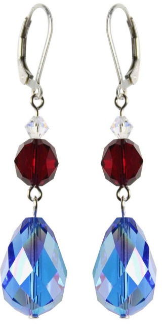 Sterling Silver Swarovski Crystal Vintage Sapphire Blue Dangle Earrings • Sailing Collection