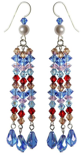 Sterling Silver Swarovski Crystal Limited Edition 3 Strand Dangle Earrings • Sailing Collection