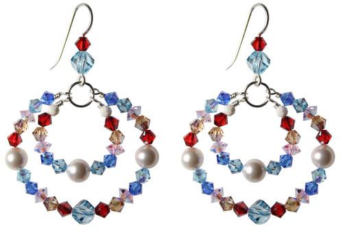 Sterling Silver Red, White & Blue Swarovski Crystal Double Hoop Earrings  • Sailing