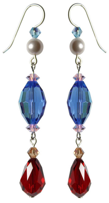 Sterling Silver Swarovski Crystal & Rare Vintage Swarovski Crystal Earrings Featuring Large Sapphire & Siam Red • Sailing Collection