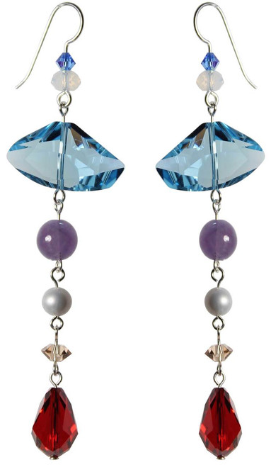 Limited Edition Sterling Silver Swarovski Crystal Geometric Shaped Shoulder Duster Earrings  • Sailing Collection