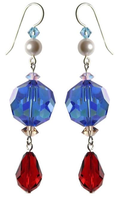 Limited Edition Sterling Silver & Vintage Blue & Red Swarovski Crystal Dangle Earrings • Sailing