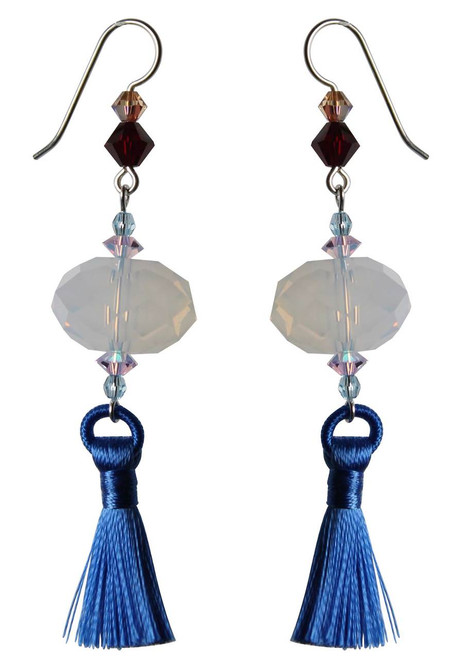 Limited Edition Sterling Silver Swarovski Crystal Earrings with Tassel • Sailing Collection