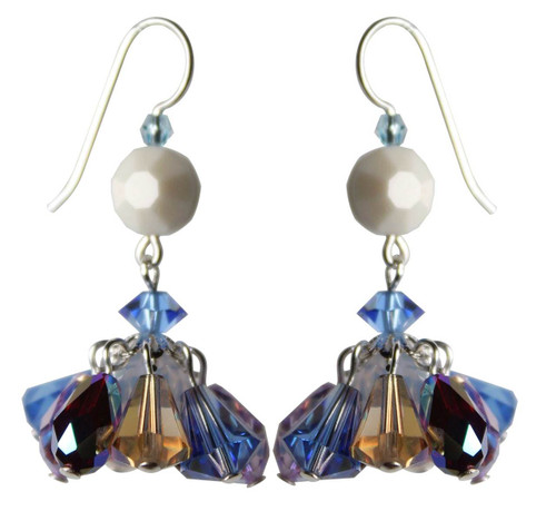 Sterling Silver Swarovski Crystal Limited Edition Mini Chandelier Earrings • Sailing