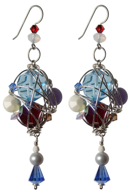 Sterling Silver One of a Kind Swarovski Crystal Caged Cluster Earrings • Sailing Jewelry Collection