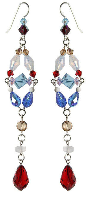 Sterling Silver Swarovski Crystal One of a Kind Divine Statement Earrings • Sailing