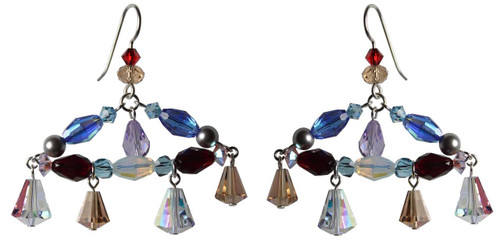 One of a Kind Sterling Silver Swarovski Crystal Chandelier Earrings • Sailing