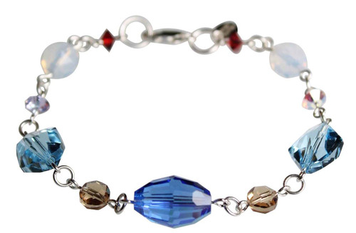 Wire Wrapped Sterling Silver Swarovski Crystal Chunky Bracelet • Sailing Collection