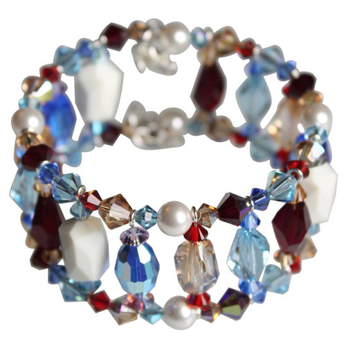 Sterling Silver Multi Colored Limited Edition Swarovski Crystal Cuff Bracelet - Sailing Collection