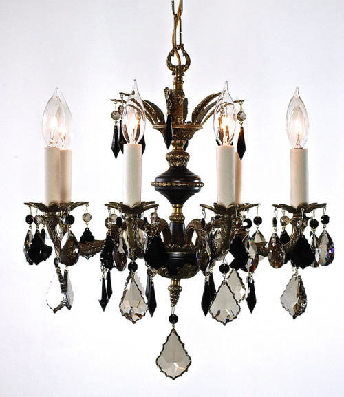 8 arm antique chandelier designed with black and golden teak STRASS crystal. One of a kind