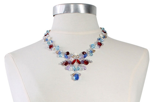 Sterling Silver and Colorful Swarovski Crystal Chunky V-Necklace - Sailing Collection